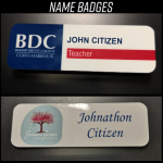 BDC logo Name badge & Susan green logo Name badge.