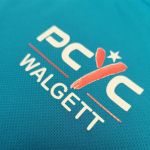 PCYC Walgett logo digital printed on cyan shirt