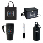 Promotional Products in Coffs Harbour items such as tote Bag, Travel mug, pen, drink bottle & cooler bag with Zevo Global Logo