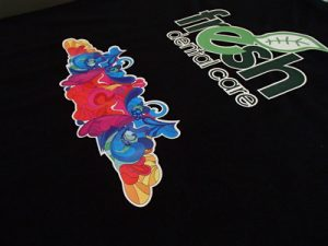 Digital Printing Transfer for Fresh Dental Care on Black T shirt
