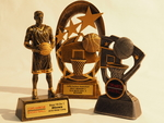 TCD trophies in Coffs Harbour with Coffs Suns Basketball custom centres and printed plates
