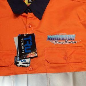 Printed hivis orange navy workshirt