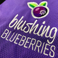 custom embroidery of blushing blueberries
